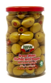 GREEN OLIVES STUFFED RED PEPPER 720GRX12 JAR