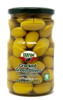 GREEN OLIVES CRACKED 720GRX12 JAR