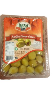 GREEN OLIVES W/RED PEPPER 600GRX24 VACUUM PACK