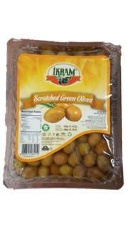 GREEN OLIVES SCRATCHED 600GRX24 VACUUM PACK