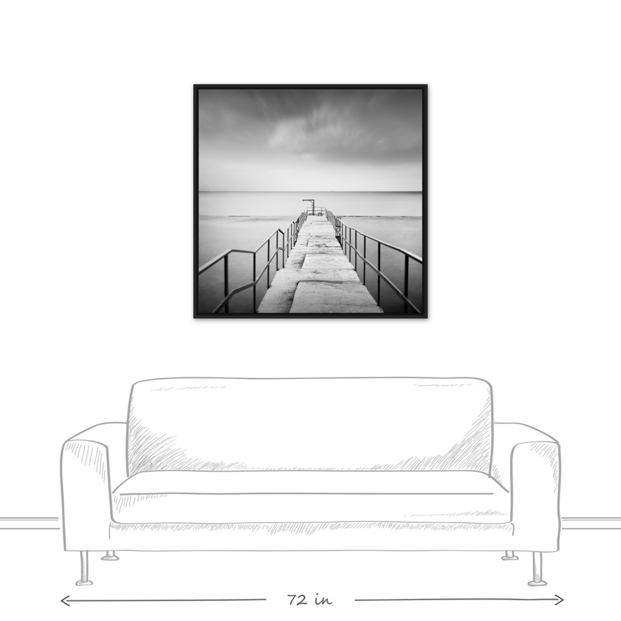 Black and White Pier 36x36 Black Floating Frame Canvas - - Designs ...