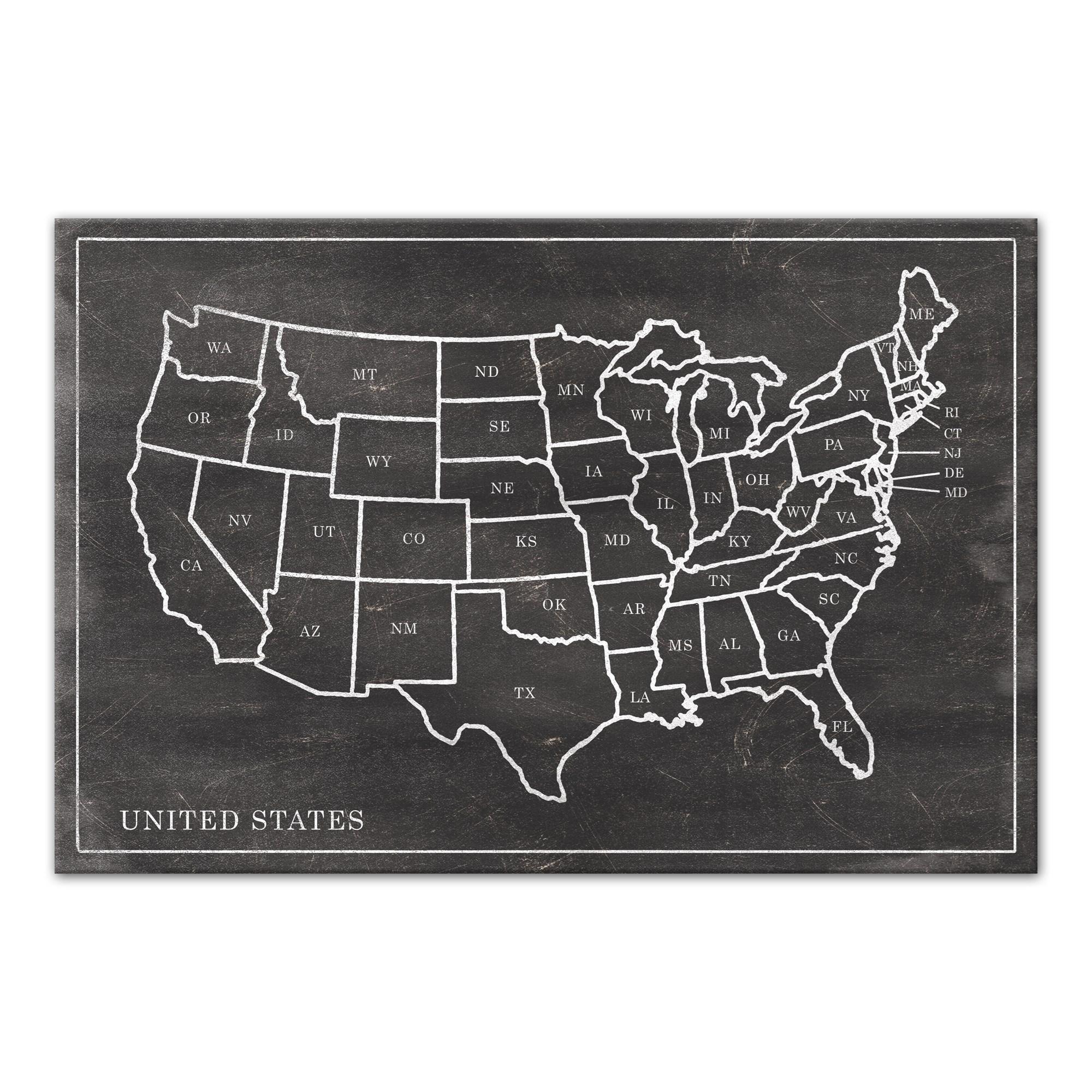 Black Chalk United States Map 48x32 Canvas Vintage Designs