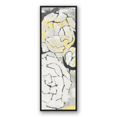 Yellow and Gray Flower Panel II 20x60 Black Floating Frame Canvas ...