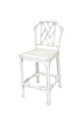 Antiqued White Rattan Counter Stool