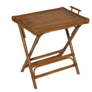 Black Rattan Tray Table