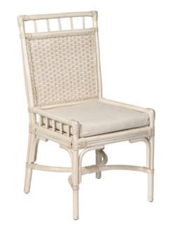 Antiqued White Rattan Desk Chair