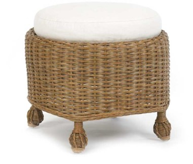 Antiqued White Eastern Shore Round Cushioned Ottoman