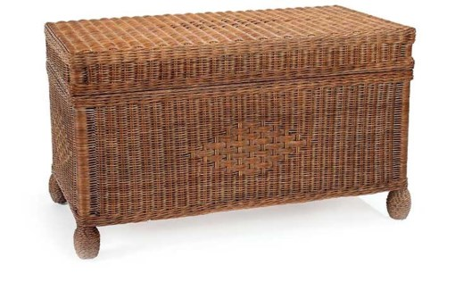 Dark Walnut Wicker Cottage Trunk