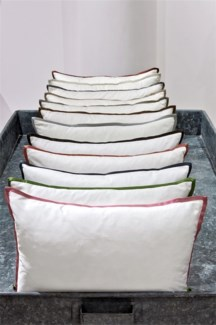 snap cotton sham with charmeuse trim
