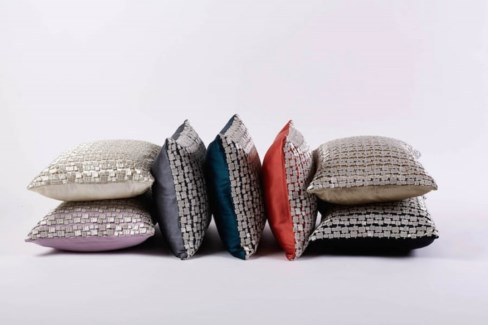 metallic mosaic pillow in platinum