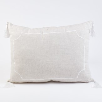 embroidered linen pillow