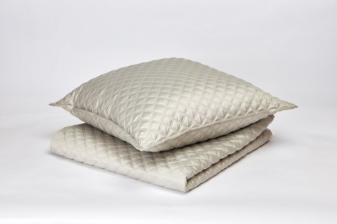 double diamond coverlet set - silver