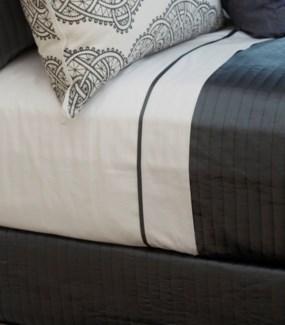 cotton sheet set with charmeuse trim