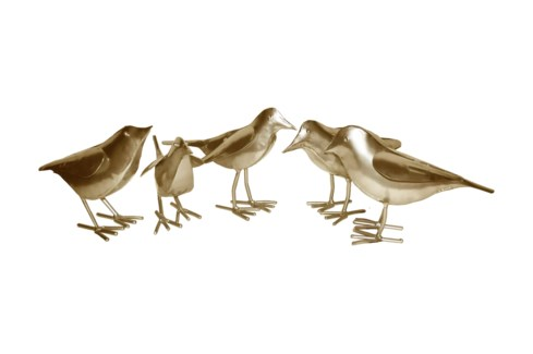Gold Set Of 5 Birds