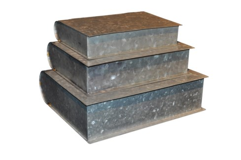 Zinc Book Boxes Set Of 3