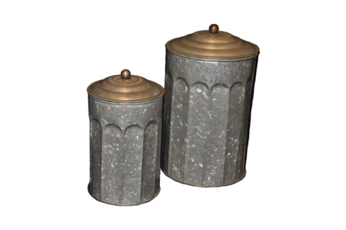 Zinc Fluted Canisiters Set Of 2