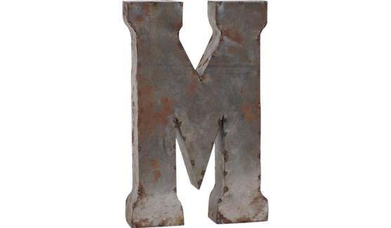 """Letter 'M' Reclaimed Tin 14"""""""