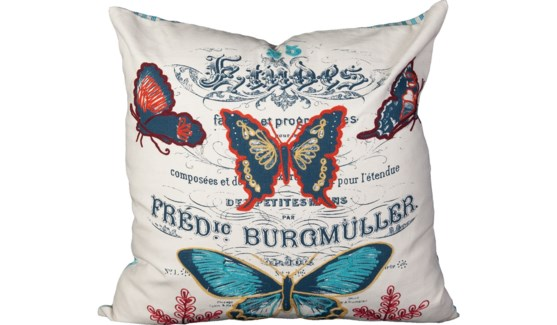 Emroidered Butterfly Pillow