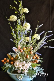 APRICOT HYDRANGEA IN TURQUOISE BOWL CENTERPIECE
