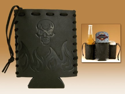 Flame & Skull - Embossed Leather