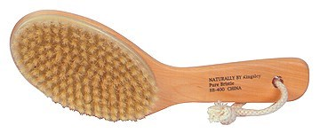 NATURAL BRISTLE BODY BRUSH with CONTOURED WOODEN HANDLE