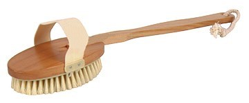 BRISTLE BATH BRUSH with DETACHABLE BAMBOO HANDLE