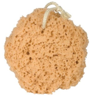 SYNTHETIC 5 inch BATH SPONGE ON ROPE
