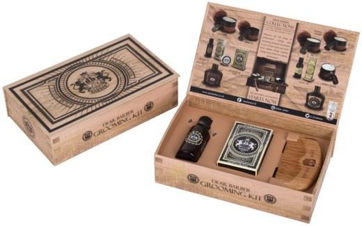 GROOMING GIFT SET-1 ea. MOUSTACHE WAX .85oz, BEARD OIL 1.01oz, WOOD COMB