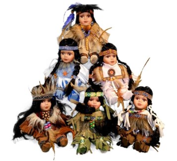 "8"" Indian Doll-Individually Boxed Set. of 6"