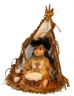 "12"" Indian Doll in Window Box - Boy in TeePee"