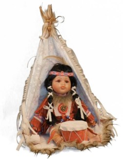 "12"" Indian Doll in Window Box - Girl in TeePee"