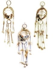 "8"" Indian Doll in 9"" Dream Catcher.  Set of 3 Asstd colors.  36""L"