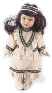 Porcelain Native American Doll 7H