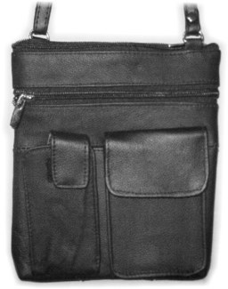 "7.5"" X 8.5"" Leather Shoulder Bag w/cell & Smart Phone Pouch."