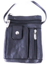"Black leather purse w/phone holder...6.5"" X 7.75"""