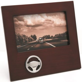WOOD PHOTO FRAME W/STEERING WHEEL EMBLEM