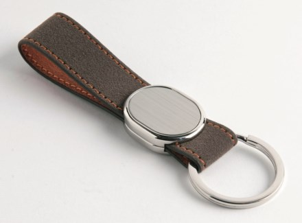 BROWN PU FINGER STRAP KEY RING, OVAL METAL PLATE