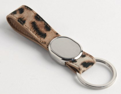 LEOPARD PU FINGER STRAP KEY RING, OVAL METAL PLATE