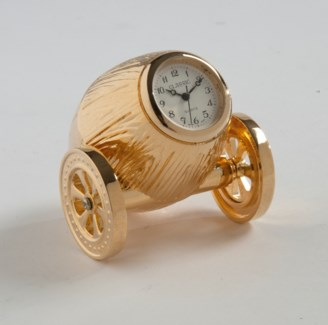 GOLD WINE BARREL CLOCK