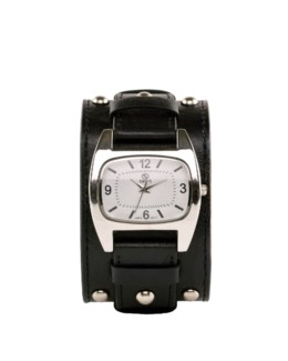 BLACK WIDE STRAP RECTANGLE DIAL WATCH