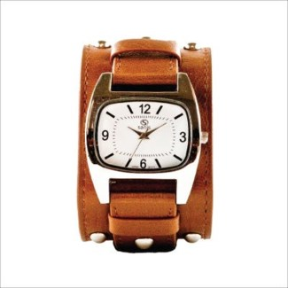 BROWN WIDE STRAP RECTANGLE DIAL WATCH