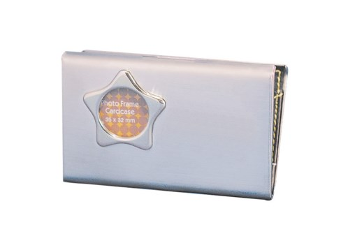 SIL NAME CARD CASE W/STAR PHOTO FRAME