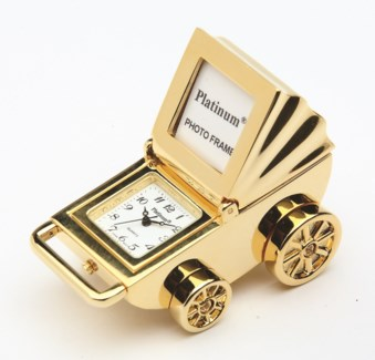 GOLD BABY CARRIAGE CLOCK