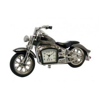 GUNMETAL MOTORCYCLE DESK CLOCK