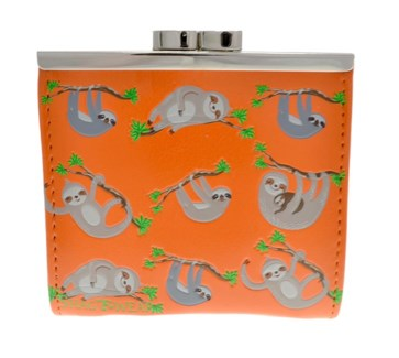 Sloth Hang in There Change Purse Orange