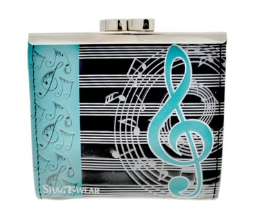 Musical Change Purse Black w/ Teal