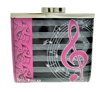 Musical Change Purse Black w/ Fuschia