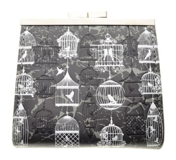 Vintage Bird Cages Change Purse Grey