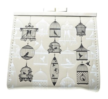 Vintage Bird Cages Change Purse Cream