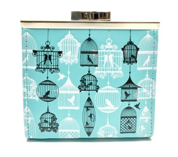 Vintage Bird Cages Change Purse Aqua
